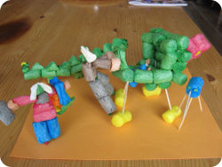 Groenhoofd-familie met kinderwagen door Hasse